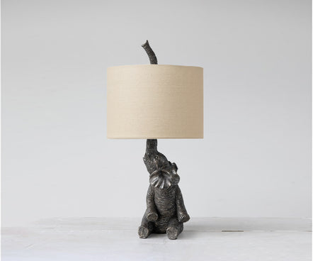 Black Resin Elephant Lamp