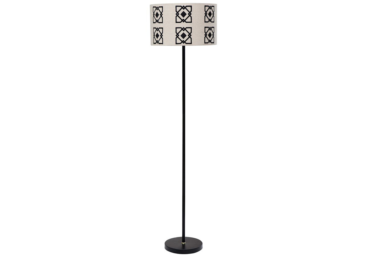 Black and White Embroidered Floor Lamp