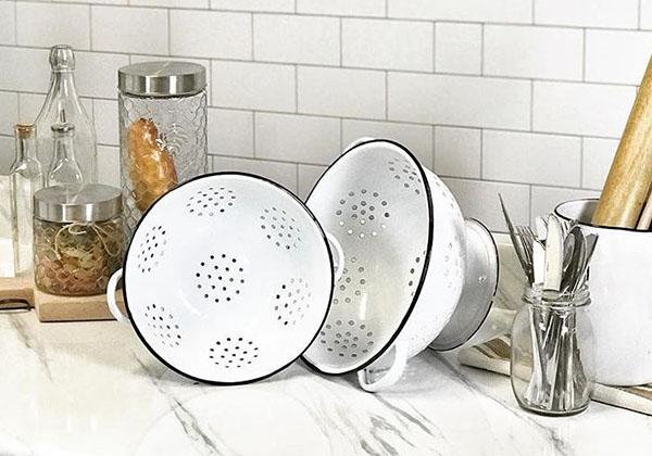100% Enamelware Colander Set of 2