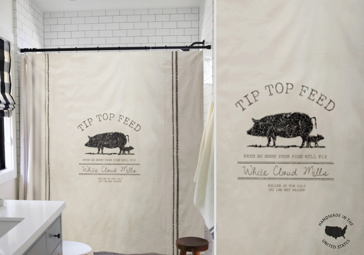 Farmhouse Pig Shower Curtain