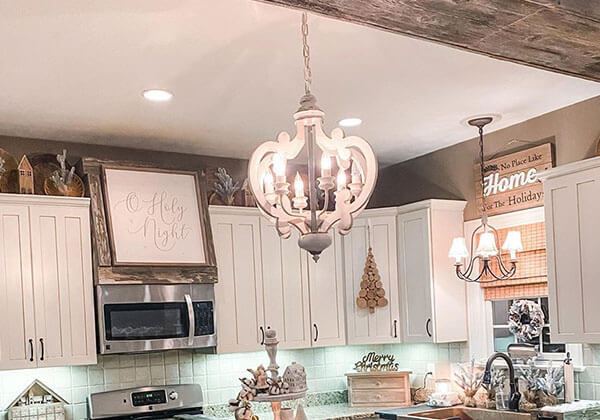 White Distressed Wood Crown Chandelier