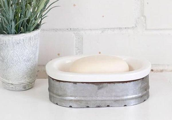 Grey and White Galvanized Metal Soap Dish