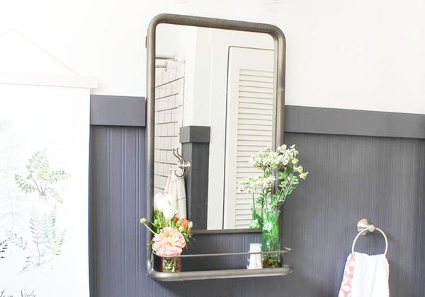 metal shelf mirror