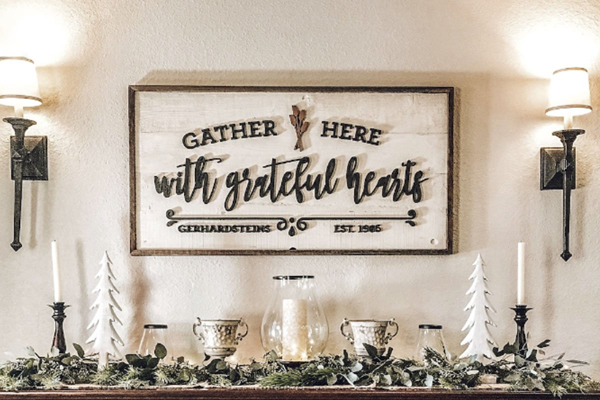 Gather Here with Grateful Hearts Wood Framed Sign
