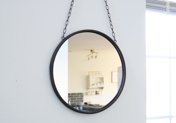 Round Metal Hanging Mirror with Chain