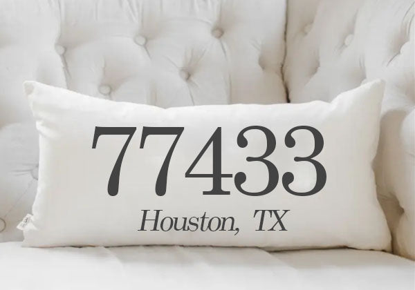 Houston, Texas Zip Code Pillow