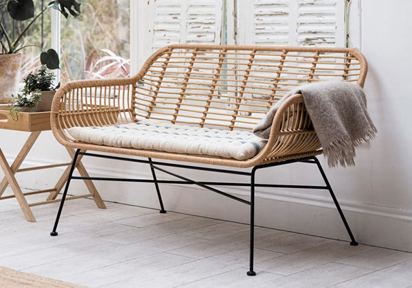 bamboo and metal rattan bench