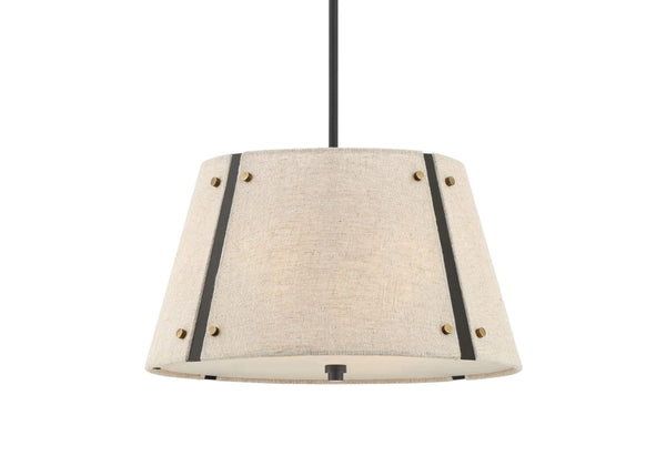 Industrial Metal Chandelier with Khaki Shade