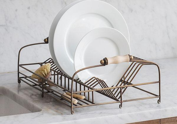 Steel antique brass dish rack