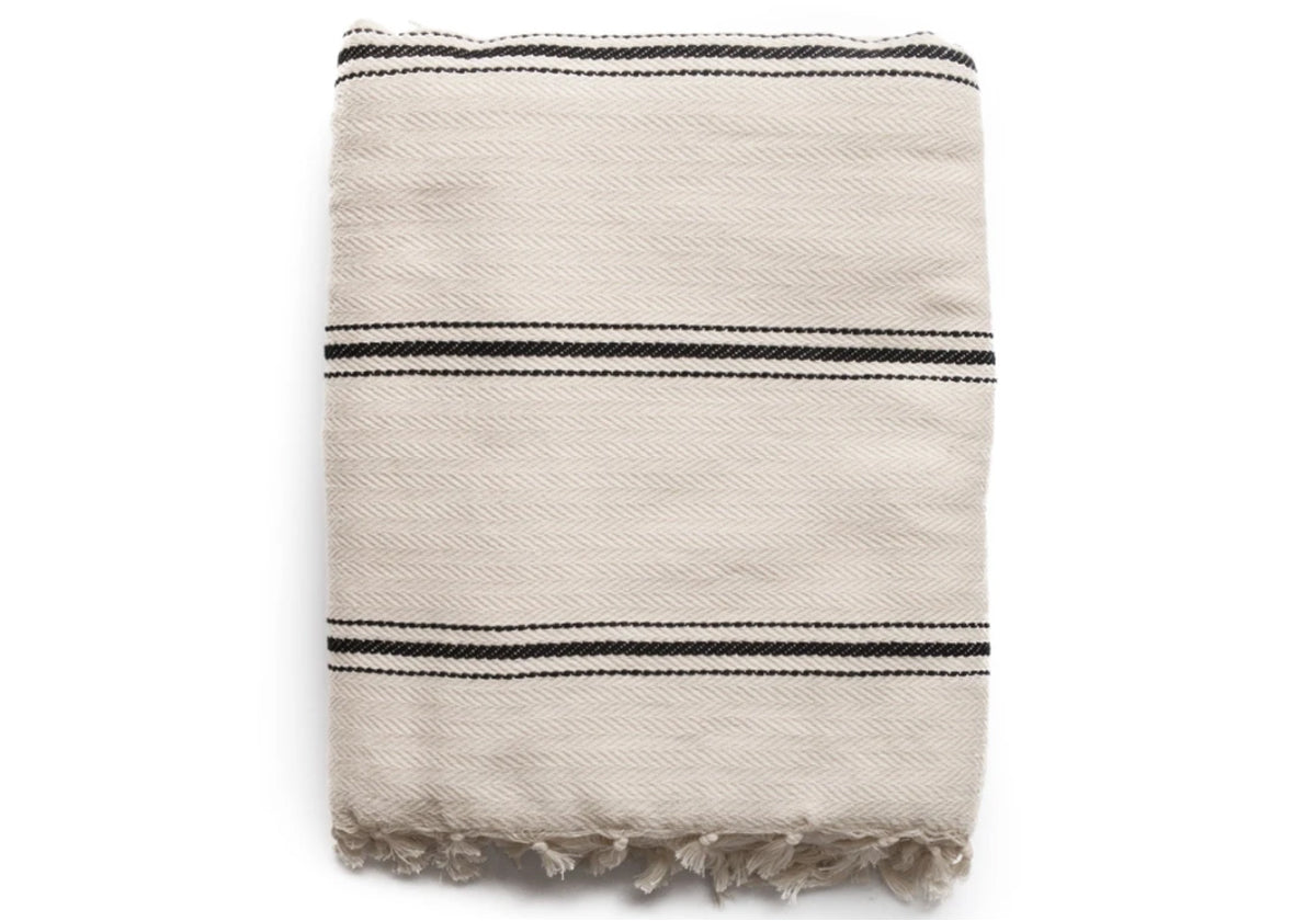 Striped throw blanket with tassels