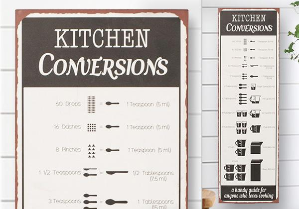 Black and white metal kitchen conversion chart wall decor