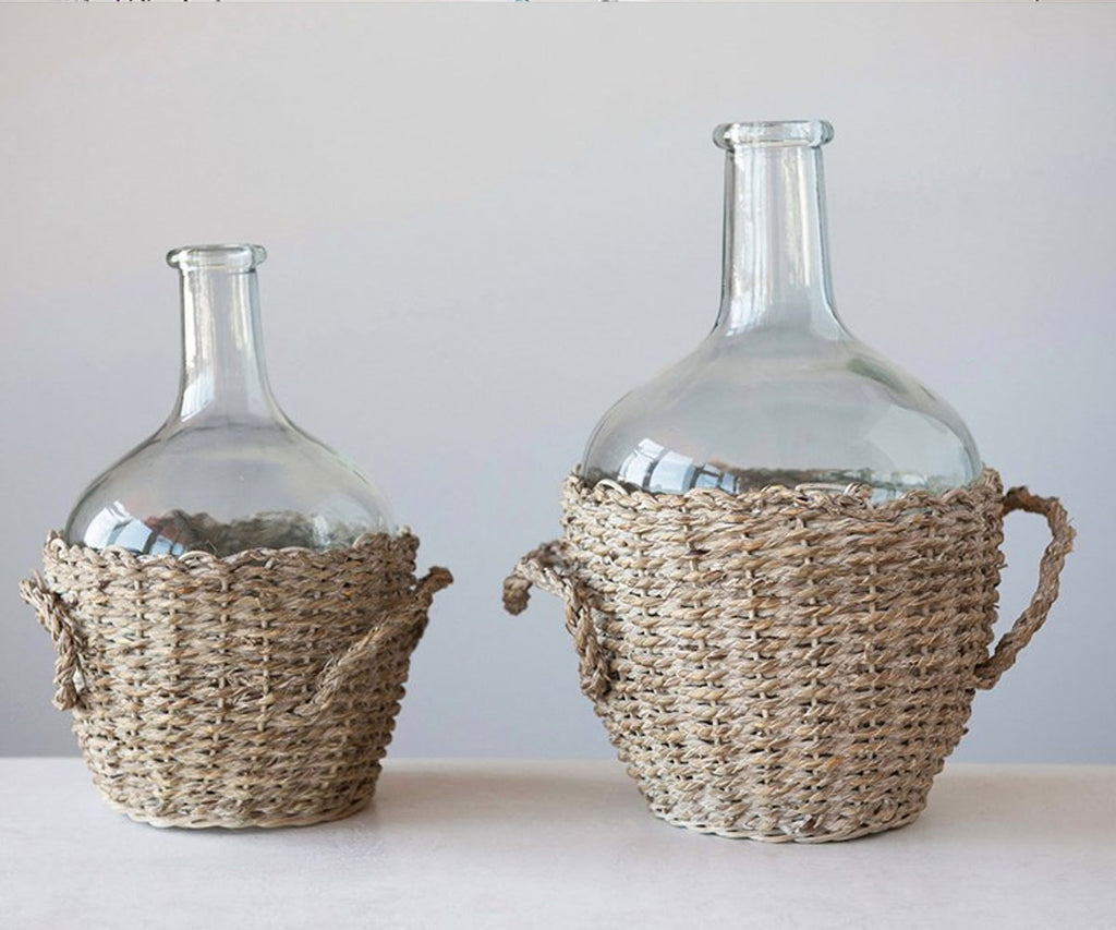 Demijohn Bottle in Seagrass Basket with Handles