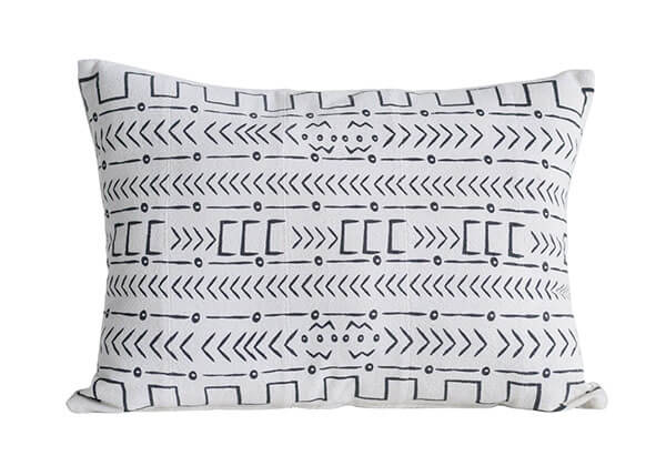 Large  black and white Aztec pillow with mudcloth pattern