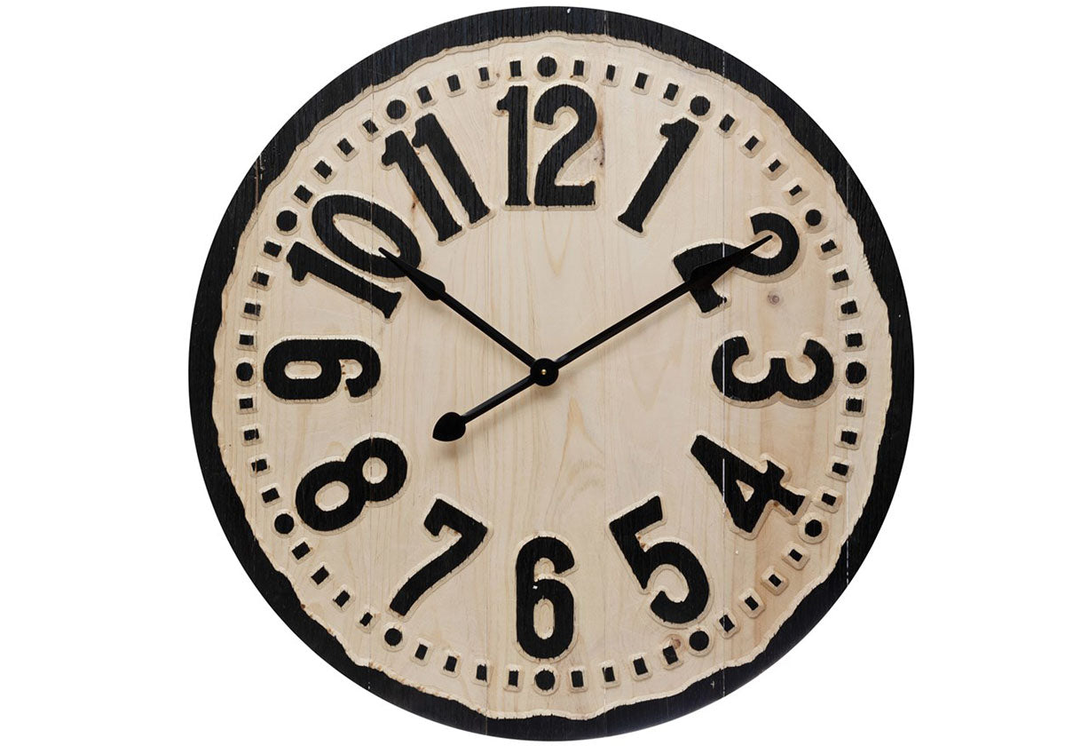 Black Natural Wood Clock