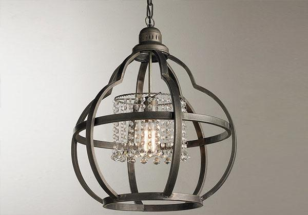 Metal and Crystal Pendant Light