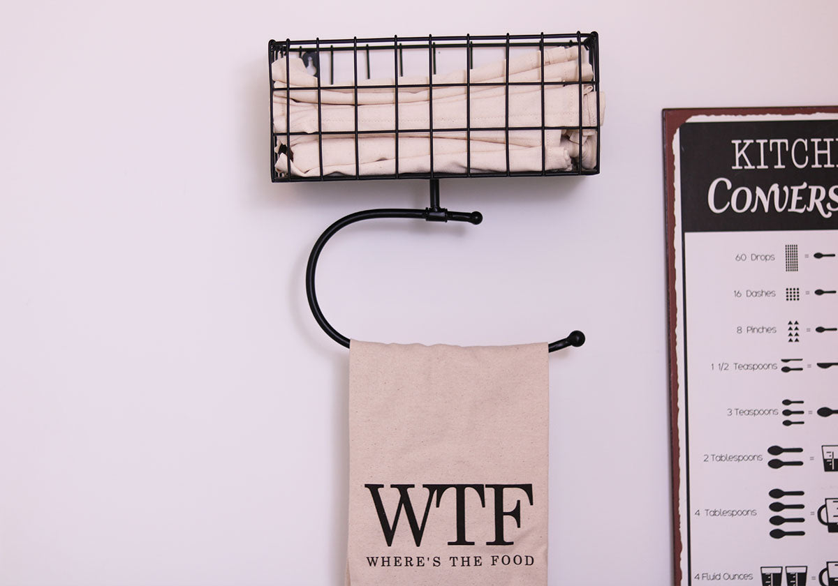 Modern Farmhouse metal paper towel holder with basket