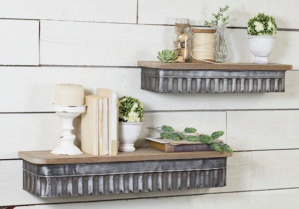 Metal corrugated wall shelf with wood top