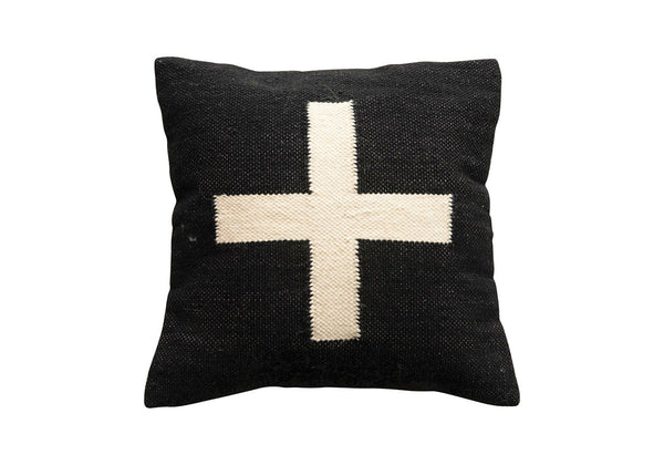 Square Black Cross Pillow