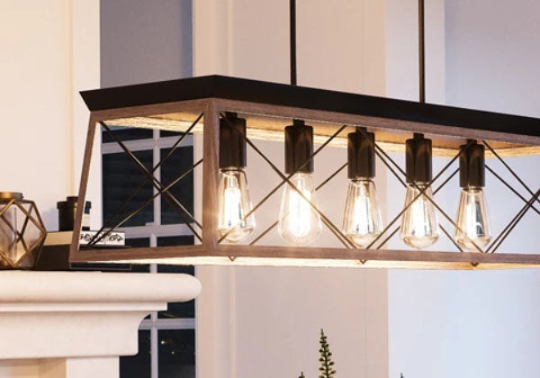 Wood and Metal Lattice 5 Light Chandelier