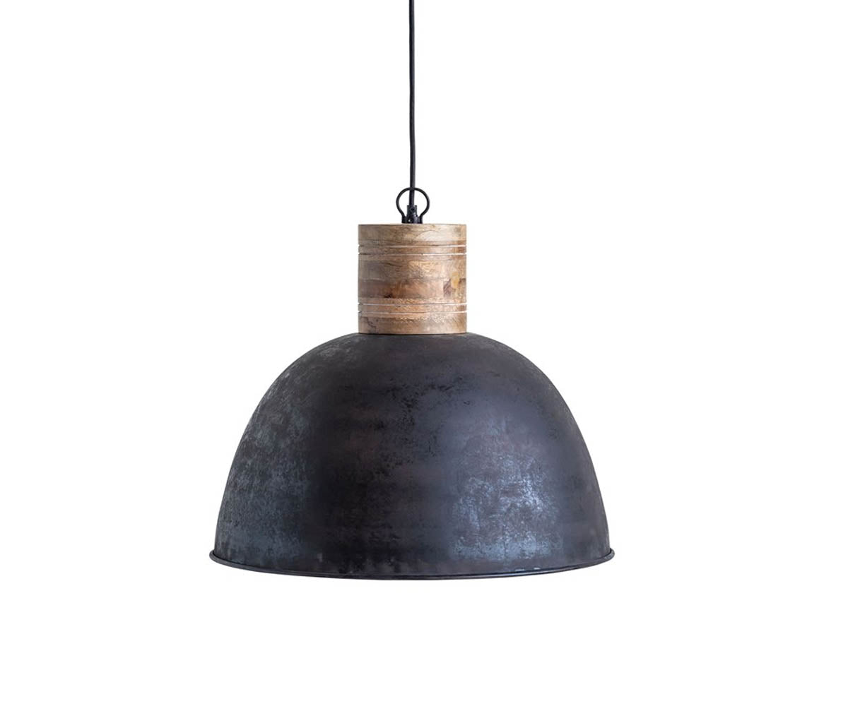 Matte Black Pendant Lamp with Cork