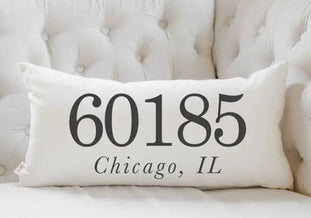 Customizable Zip Code Lumbar Pillow