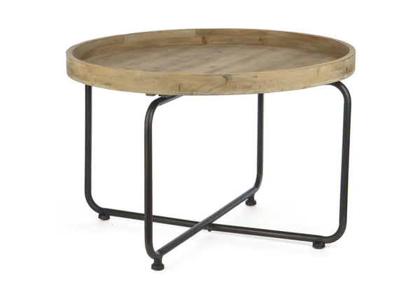 Round Mango Coffee Table with Tray Top and Metal Legs