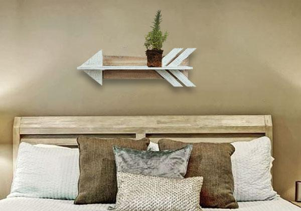 Farmhouse style wooden arrow floating shelf