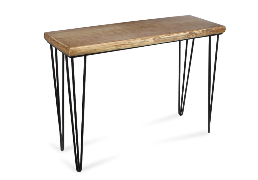 Rustic wood and metal console table