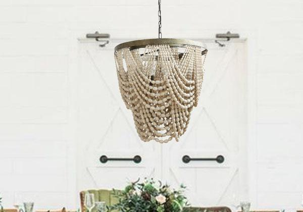 white bead chandelier with metal base