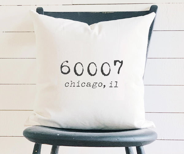 vintage style square zip code pillow