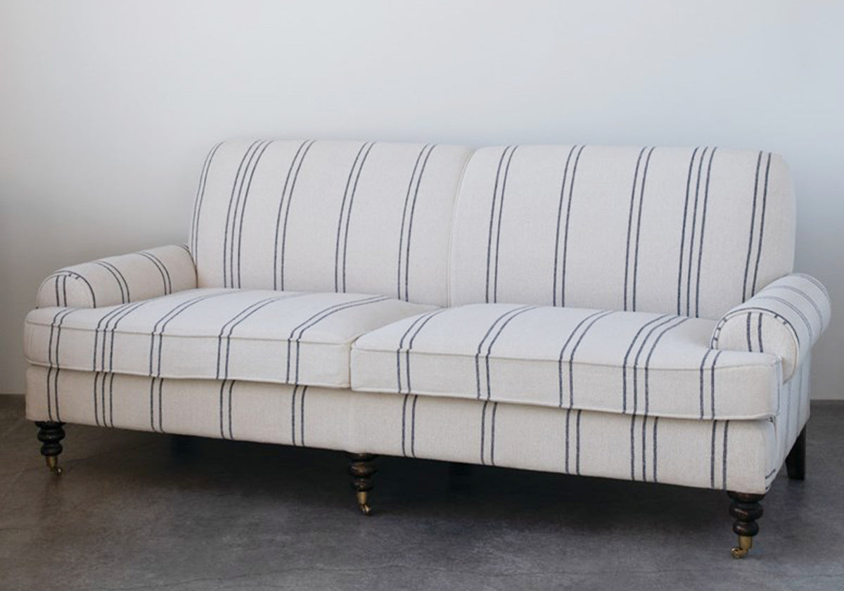 Antique Striped Fabric Sofa with Casters