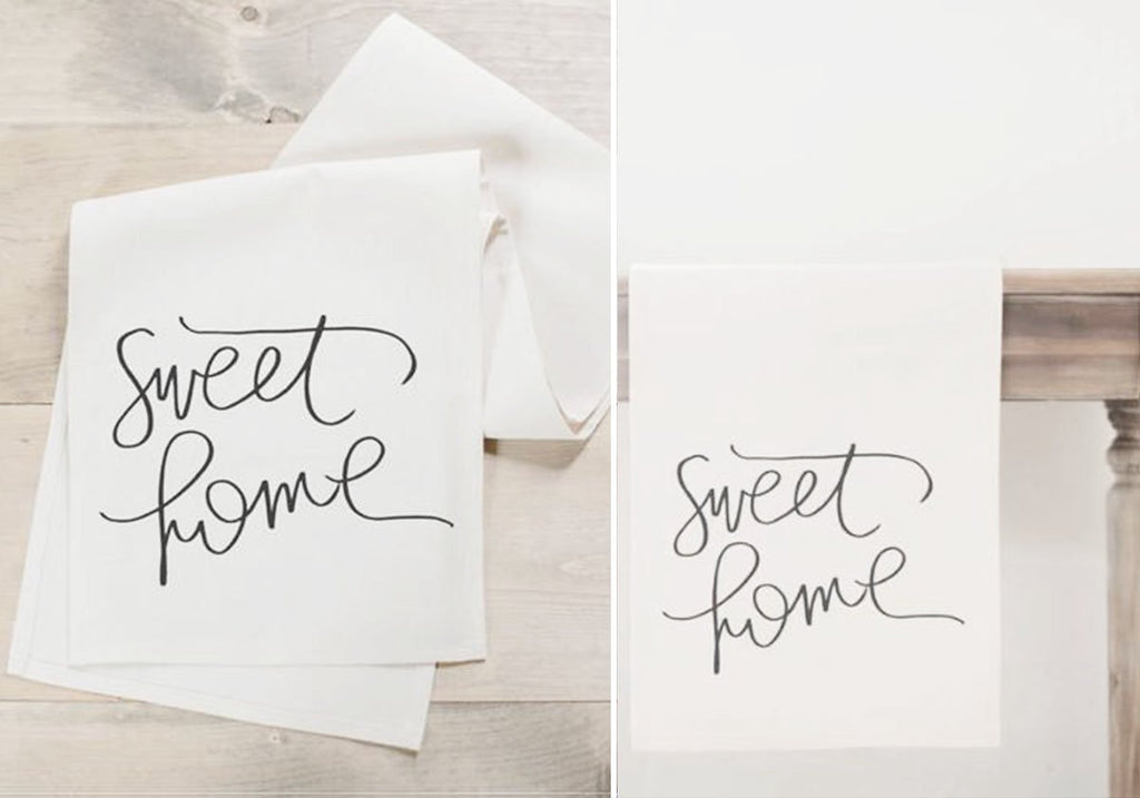"Table runner with ""sweet home"" calligraphic lettering"