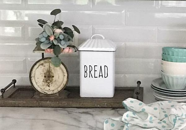 White enamelware bread container for the  kitchen