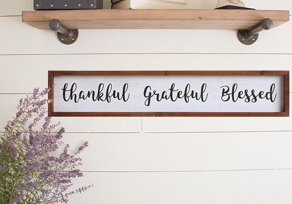"Wood ""Thankful Grateful Blessed"" Sign"
