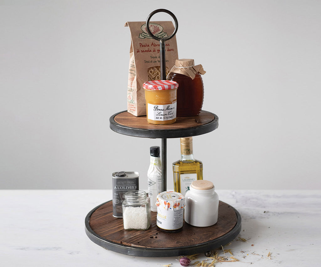 Wood and Metal Tiered Tray