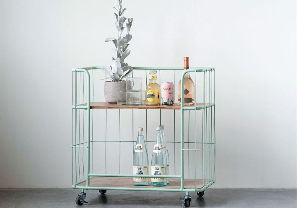 Antique Green Vintage Bar Cart