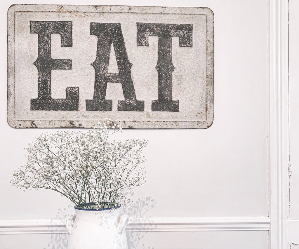 Distressed Metal Eat Sign