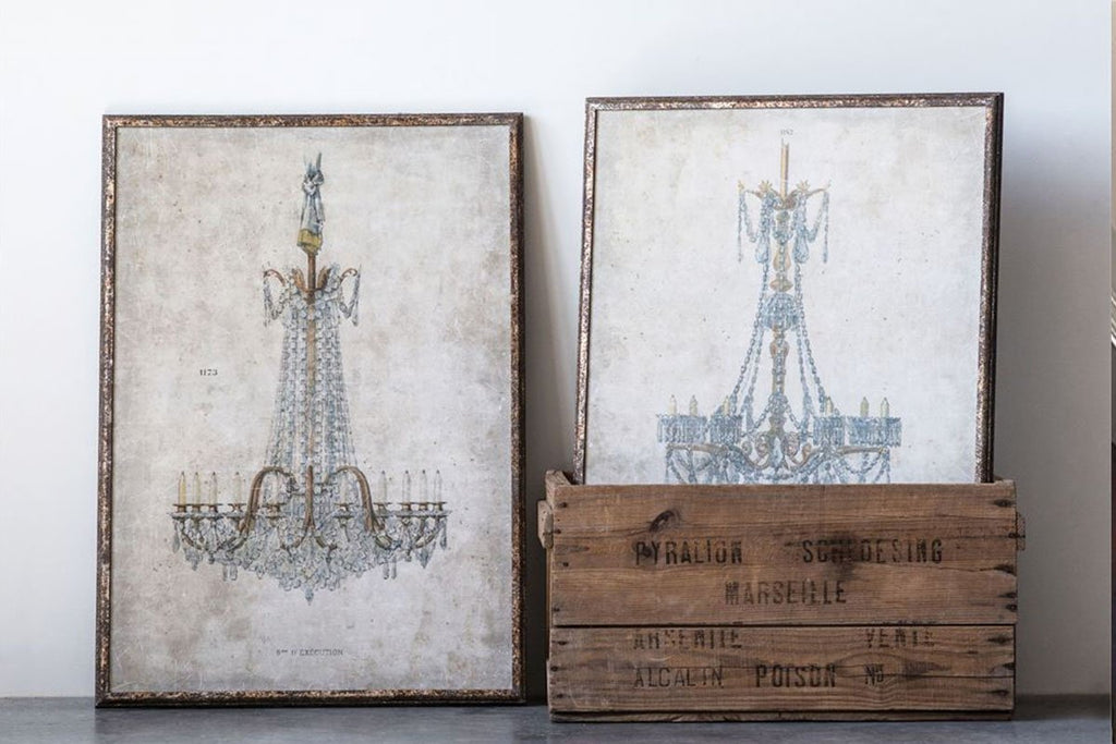 Vintage Inspired Wood Framed Antique Chandelier Paintings Set