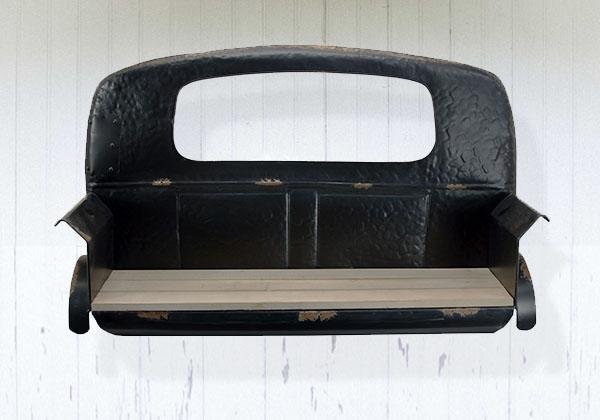 Black Metal and Almond Wood Vintage Truck Shelf