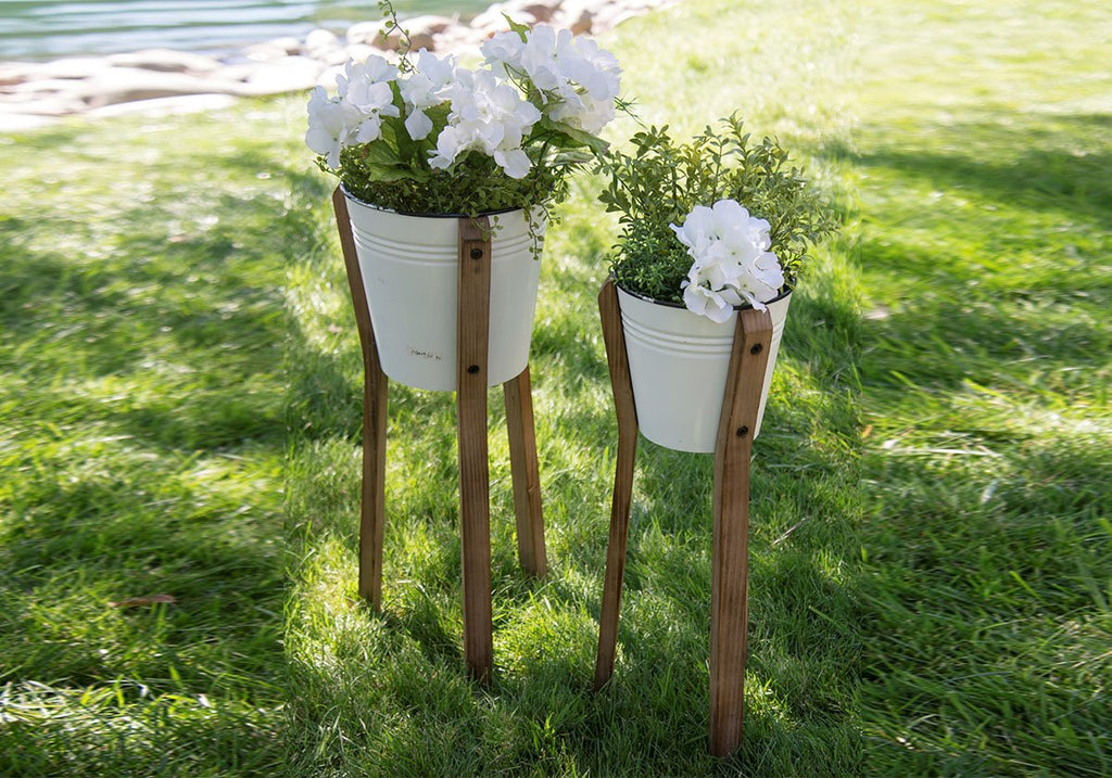 White Metal Planter Stand on Wooden Legs