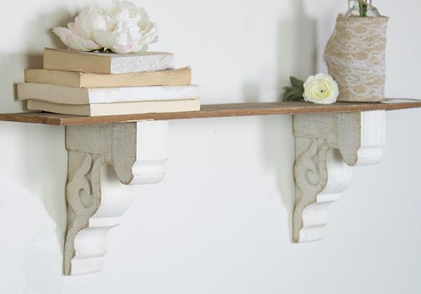 Rustic White Corbel Brackets for shelves and bookends