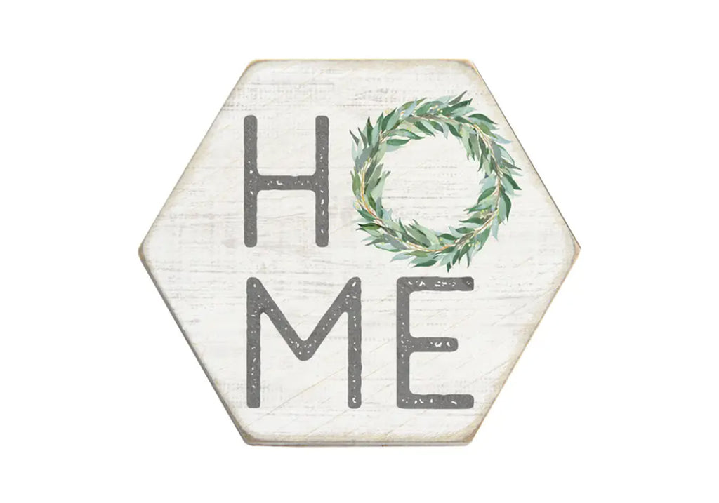 "Wooden Coaster ""Home"" with wreath"