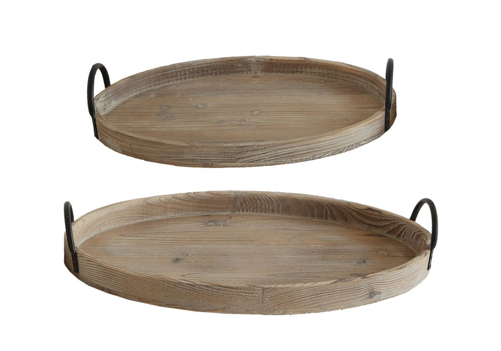 wood tray with iron handle set