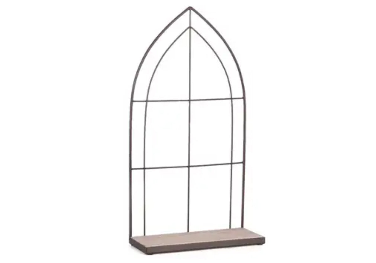 Wood and Metal Cathedral Window Frame Shelf