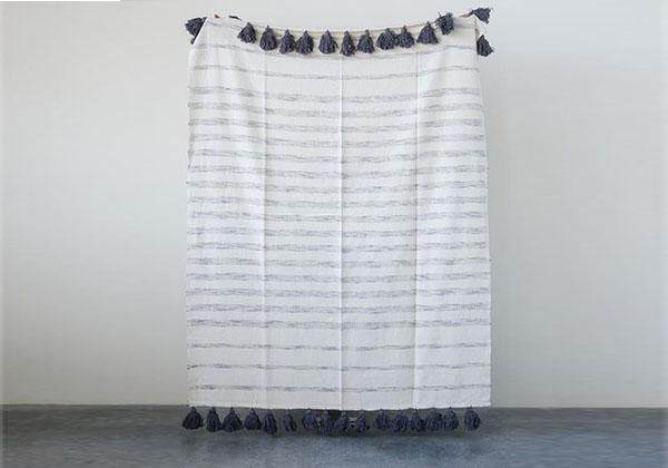 Zarrah Grey and White Throw Blanket with Tassels