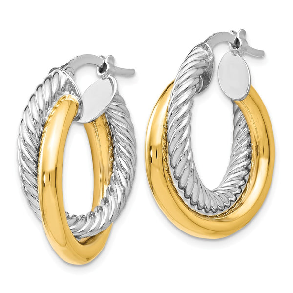 55J Leslies 14K Two-tone Polished and Textured Hoop Earrings