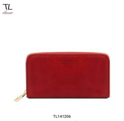 Exclusive leather wallet for women with zip on 3 sides and bellows