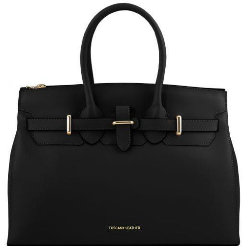 ELETTRA Ruga leather handbag with golden hardware - Black 141548