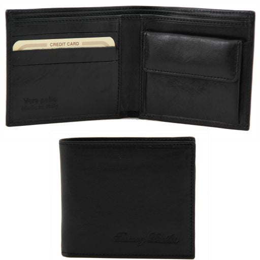 Exclusive 2 fold leather wallet for men with coin pocket - Black