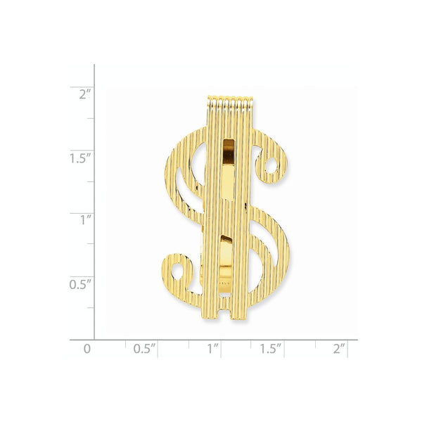 MC195 Polished 14 Karat Dollar Sign Money Clip